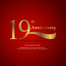 19th Anniversary Logo Text Decorative. With Red Background. Ready To Use. Vector Illustration EPS 10
