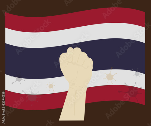 Fist power hand with corona virus or 2019-ncov virus stained on Thailand, Fight Wallpaper Mural
