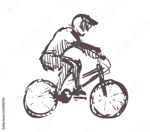 Photo Sketch of Bmx, sport and active lifestyle