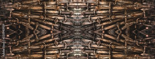Metal knight swords horizontal background Canvas Print