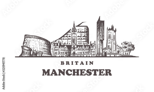 Manchester sketch skyline Canvas Print