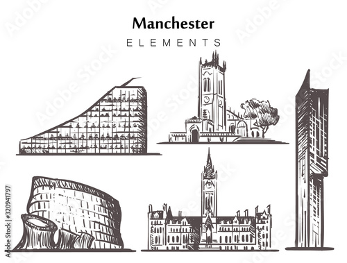Leinwand Poster Set of hand-drawn Manchester buildings elements sketch vector illustration