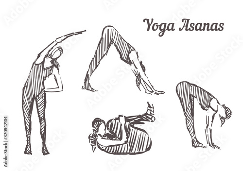 Hand drawn yoga asanas Wallpaper Mural