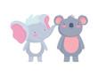 little elephant and koala cartoon character on white background