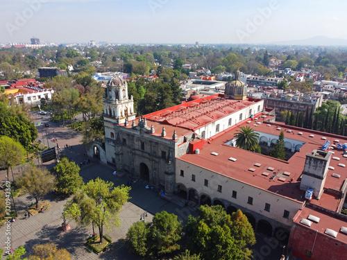 Historic center of Villa Coyoacan and Iglesia de San Juan Bautista aerial view in Mexico City CDMX, Mexico Wallpaper Mural