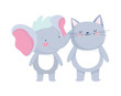 little cat and elephant cartoon character on white background