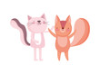 little pink cat and squirrel cartoon character on white background