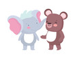 little elephant and bear cartoon character on white background