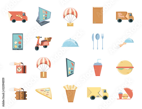 Delivery icon set vector design Wall mural
