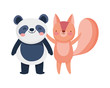 little panda and squirrel cartoon character on white background