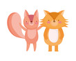 happy cute squirrel and fox cartoon character