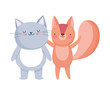 little cat and squirrel cartoon character on white background