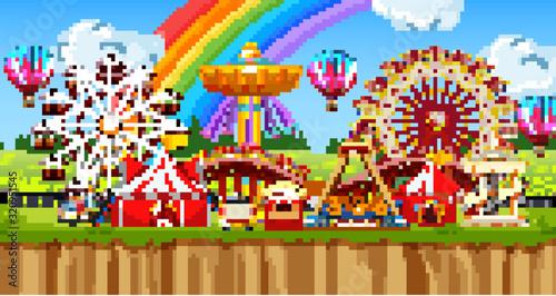 Fototapeta Scene with many rides in the funpark obraz