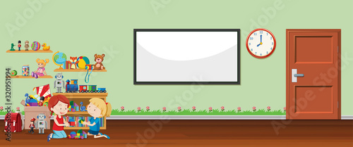 Background scene with whiteboard and toys #320951994