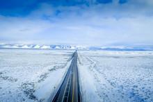 Aerial View Winter Wonderland Scenic I-70 Highway In Utah