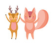 cute deer and squirrel cartoon on white background