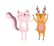 little pink cat and deer cartoon character on white background