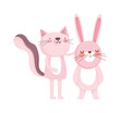 cute cat and rabbit cartoon character on white background