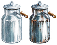 Milk Can Watercolor Illustration, Isolated On White