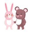 little teddy bear and rabbit cartoon character on white background