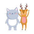 little cat and deer cartoon character on white background