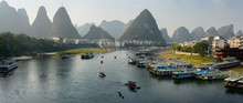 Green Lotus Peak Overlooking Yangshuo Town Harbour On The Li Jiang River China