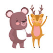 little teddy bear and deer cartoon character on white background