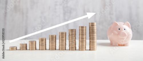 Fototapeta  Coins, piggy bank on white table with a growth arrow. obraz