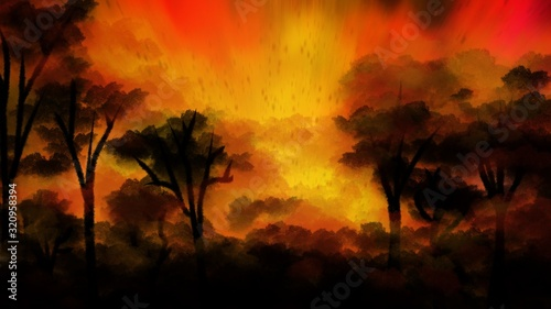 Landscape painting: Forest fire with smoke Fototapet