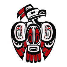 Haida Thunderbird Tattoo. Ornament In Haida Style. Isolated Bird On White Background. Black And Red Color. Vector.