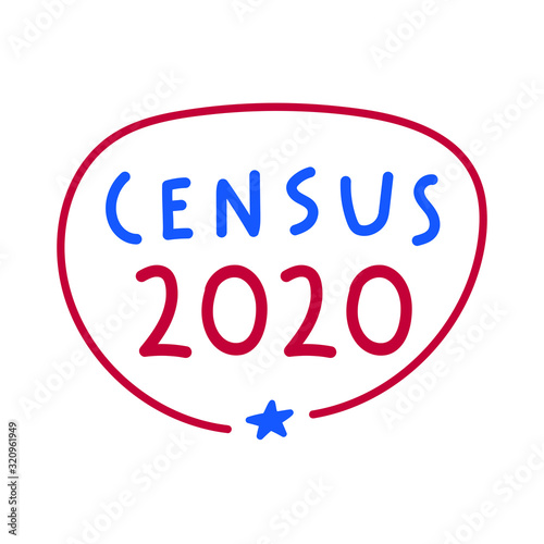 Fényképezés Vector hand drawn badge illustration - Census 2020.