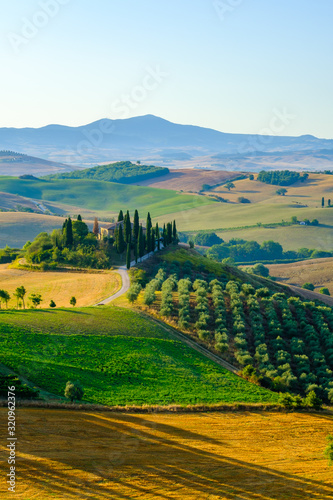 Fotografie, Obraz Late summer aerial landscape of valley in Tuscany
