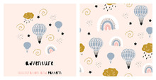 Illustration And Seamless Pattern With Cute Rainbow