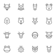 Wild Animals Line Icons Set. Linear Style Symbols Collection, Animal Head Outline Signs Pack. Vector Graphics. Set Includes Icons As Fox, Beaver, Dog, Pigeon, Wild Boar, Hedgehog, Owl, Deer, Elk