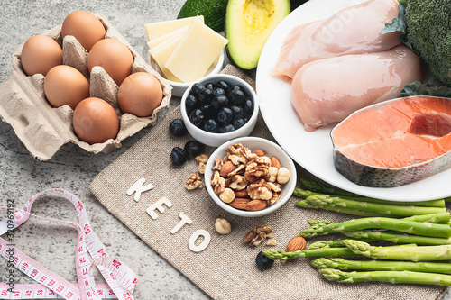 Ketogenic low carbs diet food on the table for background Canvas Print