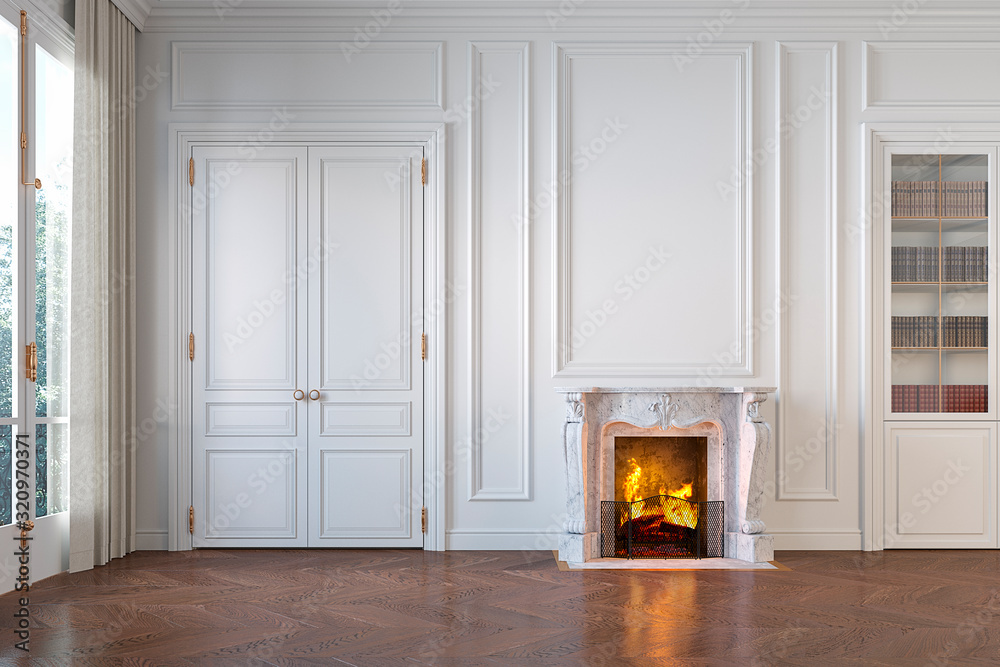 Fototapeta Classic white empty interior with fireplace, moldings, wall pannel, window, door. 3d render illustration mock up.