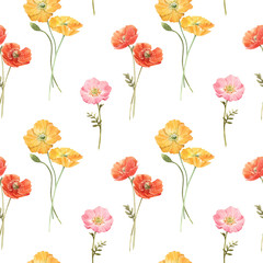 Naklejka Do kuchni Beautiful vector floral summer seamless pattern with watercolor hand drawn field wild flowers. Stock illustration.