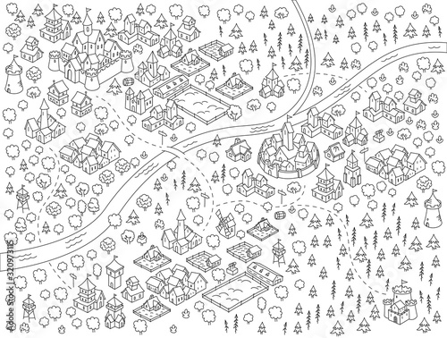 Medieval city, fantasy area map sketch kit. Mountain river and village. Map for board game. Hand drawn vector black line. Fototapete