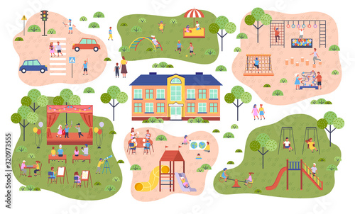 Kindergarten, playground and parking space, slides and swings, children playing vector. Sandbox and stage, easels and horizontal bar. Kids climbing, painting or acting, outdoor activity illustration