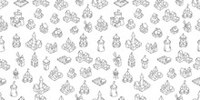 Medieval Buildings Seamless Pattern Background. Middle Ages Fantasy Fortress, House And Castle Sketch. Hand Drawn Vector Black Line Icon Set.
