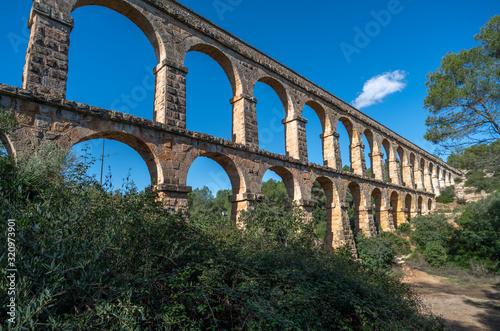 Ancient roman aqueduct Ponte del Diable or Devil's Bridge in Tarragona, Spain Wallpaper Mural