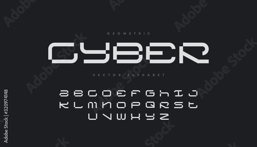Cyber sports font design. Futuristic vector alphabet. Canvas Print