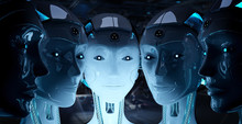 Group Of Female Robots Close T...