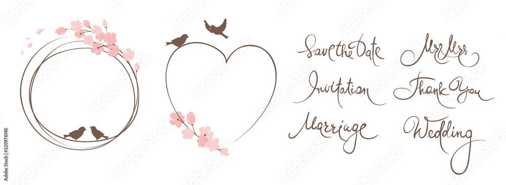 Fototapeta Frames for Wedding invitation. Set vector design elements on the theme of flowering and spring, wedding calligraphy