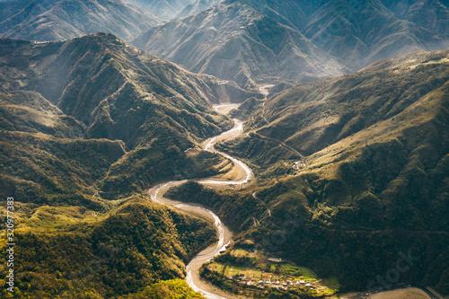 Fototapeta aerial view of mountains in Taiwan obraz
