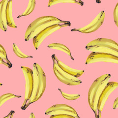 Fruit banana seamless patten. Hand drawing gouache. Yellow bananas. Design fo...