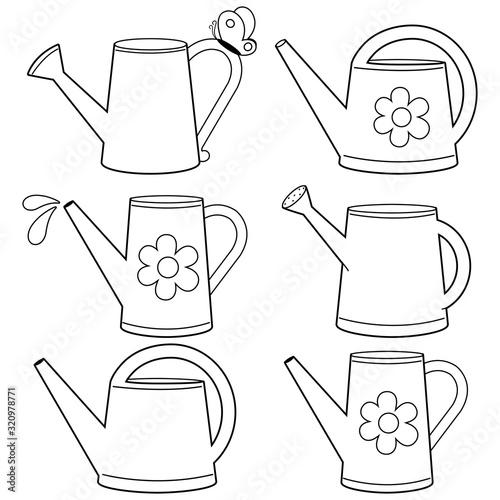 Obraz na plátně Watering cans illustration collection
