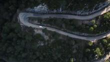 Aerial White Campervan On Wind...