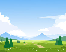 Beautiful Summer Mountain Landscape. The Road Leads Through The Fields And Forest To The Mountain Peaks. Illustration For Tourism Design, Travel, Adventure. Vector.