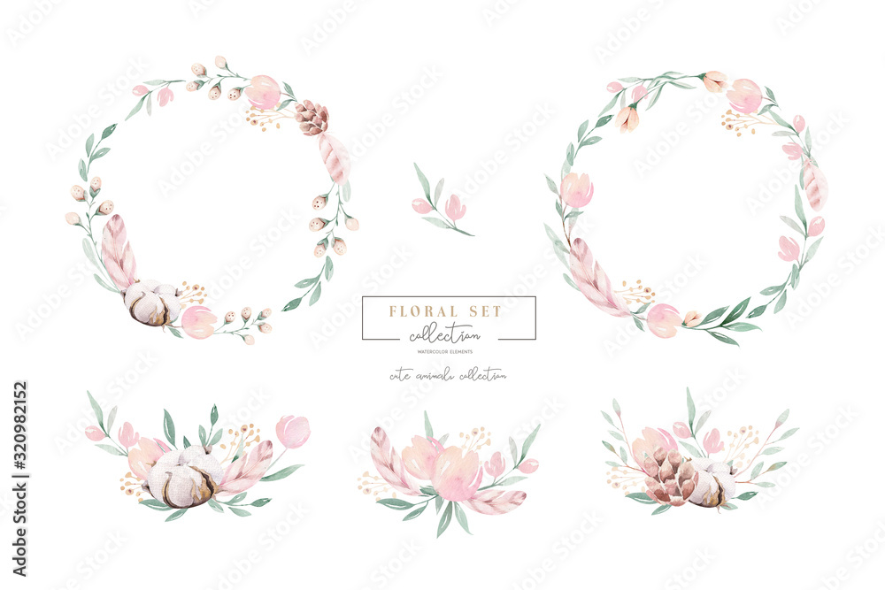 Fototapeta Watercolor floral wreath and bouquet frame illustration with cotton balls peach color, white, pink, vivid flowers, green leaves, for wedding stationary, greetings, wallpapers,  background,